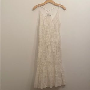 URBAN OUTFITTERS WHITE OPEN KNIT V-NECK DRESS S